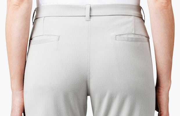 Women's Stone Momentum Chino on Model in Close-up of the Rear of Pants