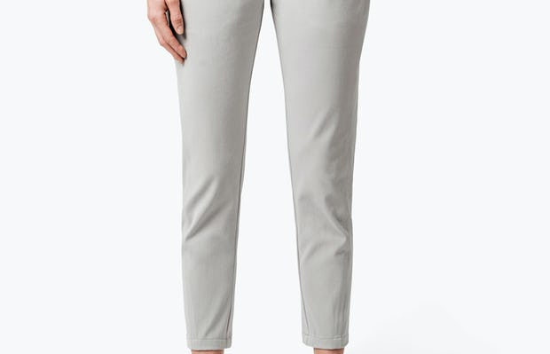Women's Stone Momentum Chino on Model with Hand in Her Left Pocket