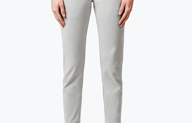 Women's Stone Momentum Chino on Model with Hands by Her Side