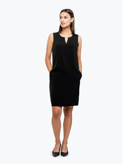 Women's Black Swift Sleeveless Dress on Model Facing Forward