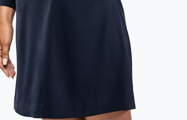 Women's Navy Swift 3/4 Sleeve Dress on Model in Close-up of Left Pocket