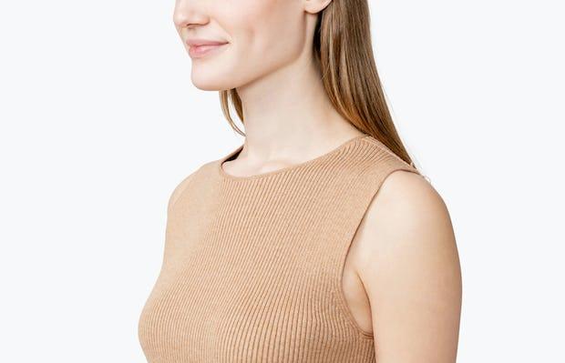Women's 3D Print-Knit Tank - Latte - Image 4