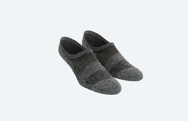 Grey Black Heather Atlas No Show Socks