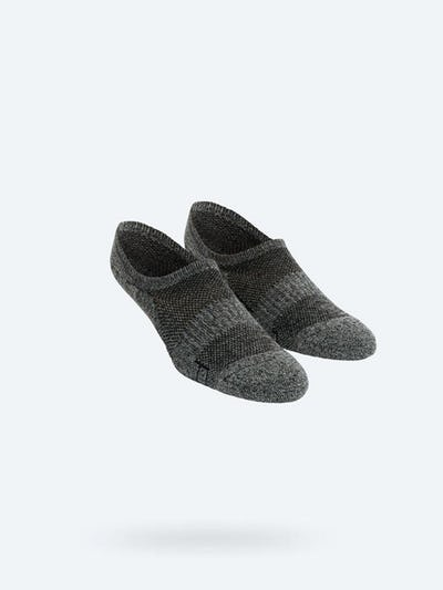 Grey Black Heather Atlas No Show Socks