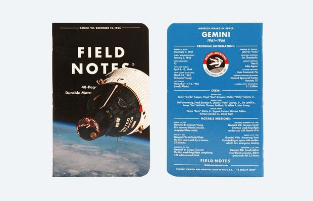 "Field Notes ""Three Missions"" 3 Pack — Gemini Notebook"