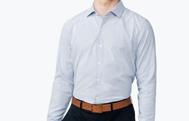 Men's Blue Twill Stripe Nylon Aero Dress Shirt on Model Facing Forward