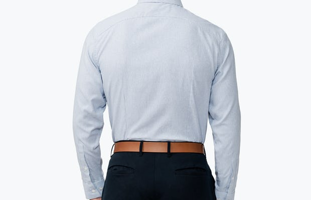 Men's Blue Twill Stripe Nylon Aero Dress Shirt on Model Facing Backward