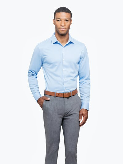 Men's Light Blue Brushed Apollo Dress Shirt on Model Facing Forward with Hand in Pant Pocket