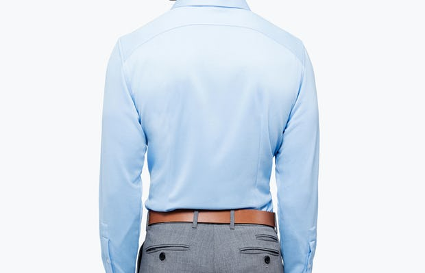 Men's Light Blue Brushed Apollo Dress Shirt on Model Facing Backward
