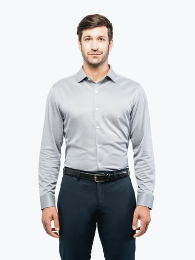 Men's Apollo Dress Shirt - Grey Heather Brushed - Main Image