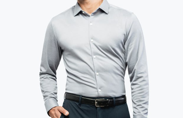 Men's Medium Grey Heather (Brushed) Apollo Dress Shirt on Model Walking Forward