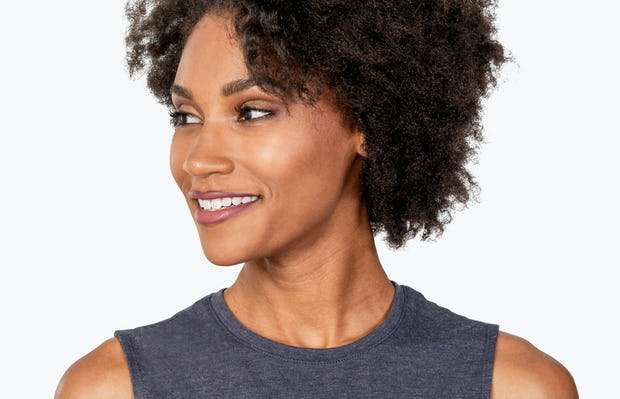 Women's Dark Grey Composite Merino Tank on Model in Close-up of Front Collar