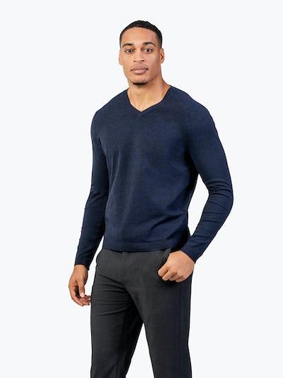 Men's Navy Static V-Neck Sweater model with thumb in pocket