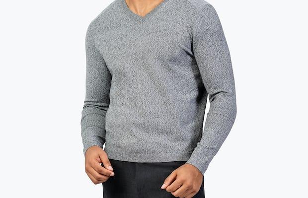 Men's Grey Static v-Neck Sweater model facing forward