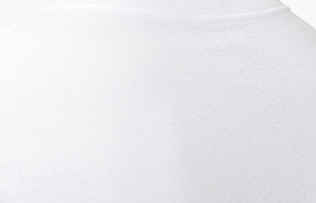 Men's White Atlas V-Neck Tee close shot of collar and back