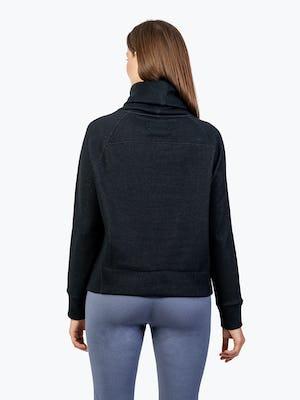 Women's Black Hybrid Fleece Funnel Neck on Model Facing Backward
