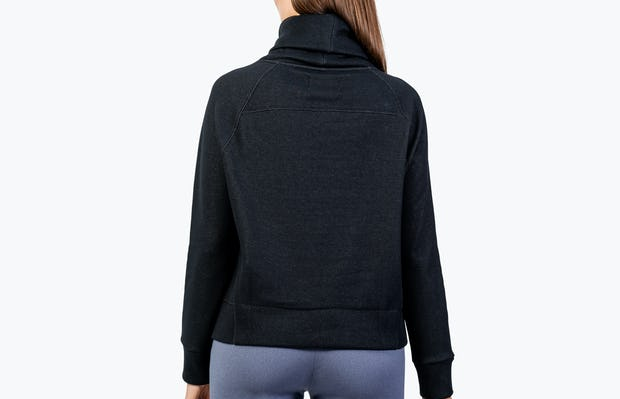 Women's Black Hybrid Fleece Funnel Neck on Model Facing Backward