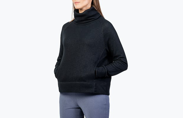 Women's Black Hybrid Fleece Funnel Neck on Model Facing Left