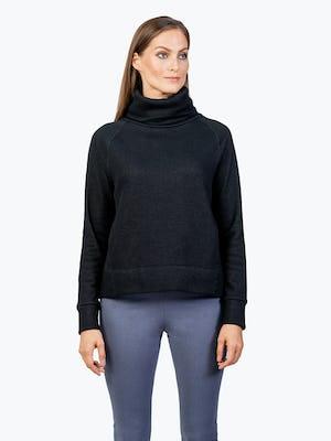 Women's Black Hybrid Fleece Funnel Neck on Model Facing Forward