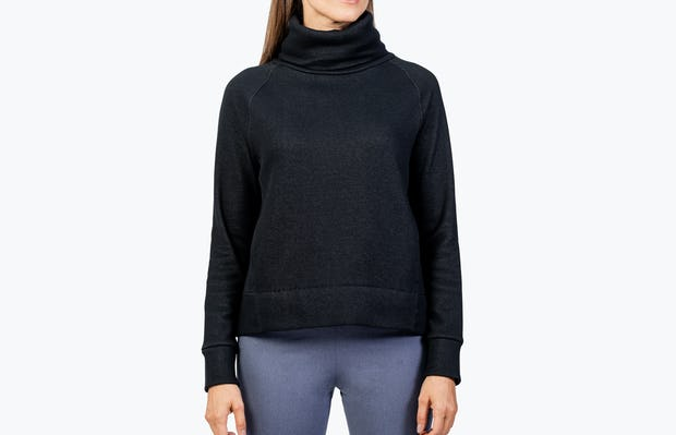 Women's Black Hybrid Fleece Funnel Neck on Model Facing Forward