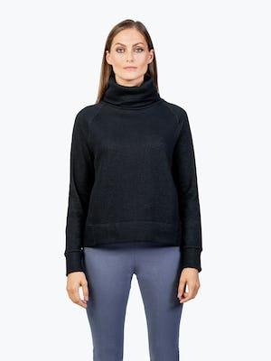 Women's Black Hybrid Fleece Funnel Neck on Model with Hands by Her Side