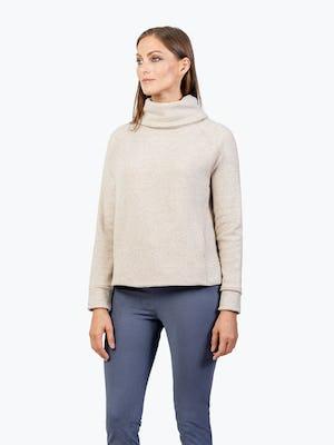Women's Oatmeal Hybrid Fleece Funnel Neck on Model Facing Left