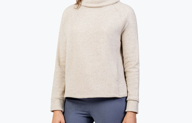 Women's Oatmeal Hybrid Fleece Funnel Neck on Model Facing Left