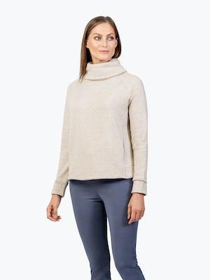 Women's Oatmeal Hybrid Fleece Funnel Neck on Model Looking Right