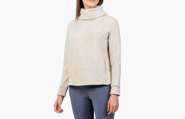 Women's Oatmeal Hybrid Fleece Funnel Neck on Model Looking Right