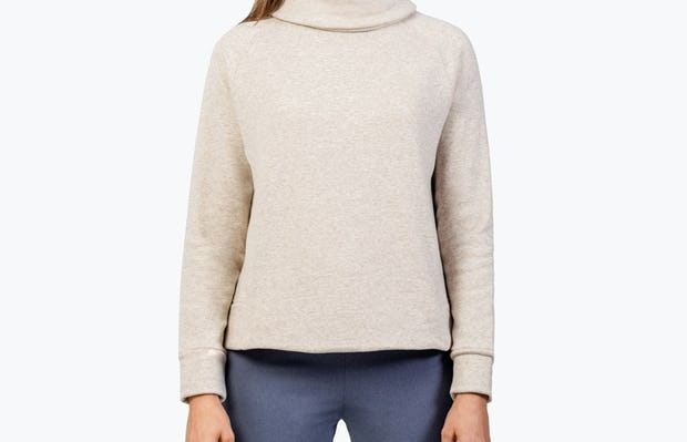 Women's Oatmeal Hybrid Fleece Funnel Neck on Model with Hands by Her Side