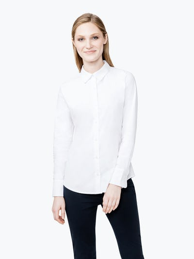 Women's White Aero Dress Shirt in Model