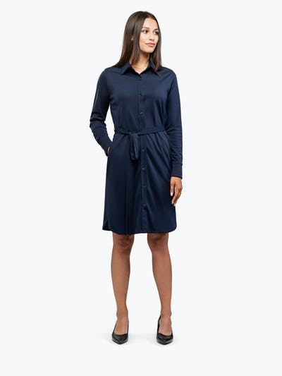 Women's Navy Apollo Shirt Dress on Model Looking Right