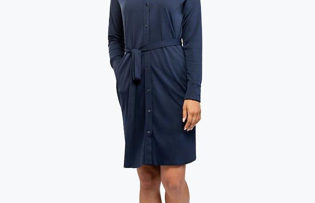 Women's Apollo Shirt Dress - Navy - Image 8