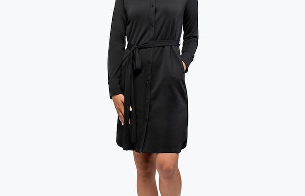 Women's Black Apollo Shirt Dress on Model Walking Forward