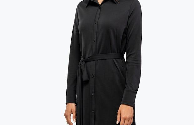 Women's Black Apollo Shirt Dress on Model Facing Left