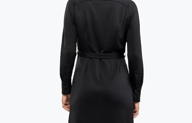 Women's Black Apollo Shirt Dress on Model Facing Backward