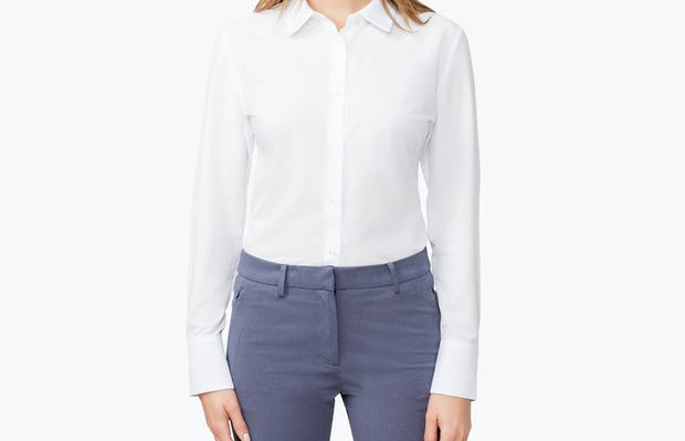 Women's White Juno Tailored Dress Shirt on Model with Hand by Her Side