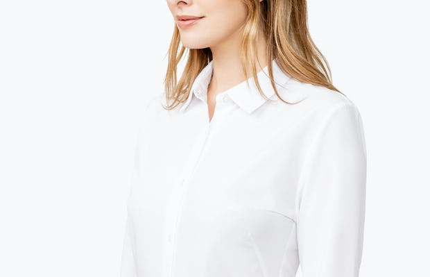 Women's White Juno Tailored Dress Shirt on Model with Shirt Tucked In