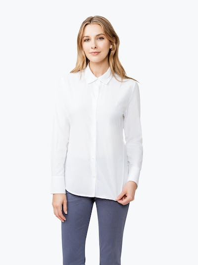 Women's White Juno Tailored Dress Shirt on Model Facing Forward
