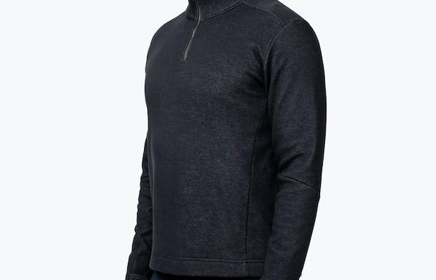Men's Hybrid Fleece 1/4 Zip - Black - Image 6
