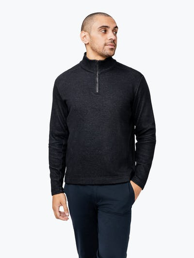 Men's Hybrid Fleece 1/4 Zip - Black - Main Image