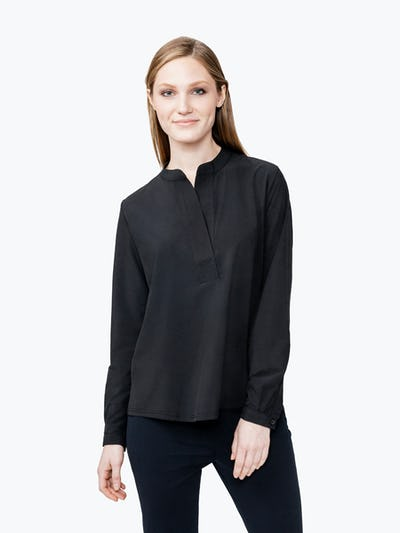 Women's Black Juno Popover on Model Facing Forward