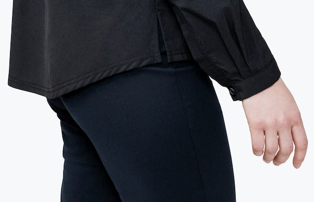 Women's Black Juno Popover on Model in Close-up of Her Shirt Cuff