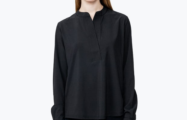 Women's Black Juno Popover on Model with Hands by Her Side