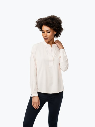 Women's Blush Juno Popover on Model Facing Forward