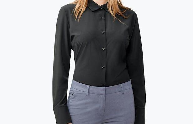 Women's Black Juno Tailored Dress Shirt on Model with Shirt Tucked In