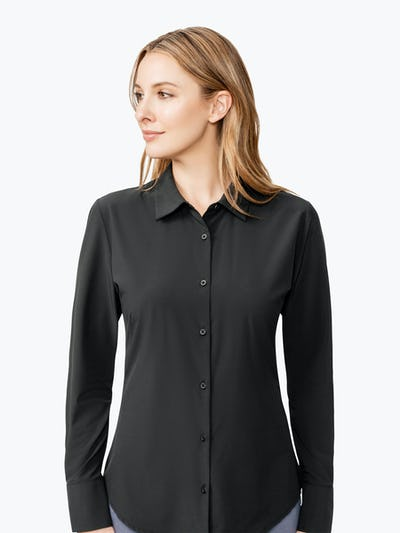 Women's Black Juno Tailored Dress Shirt on Model Looking to Her Right