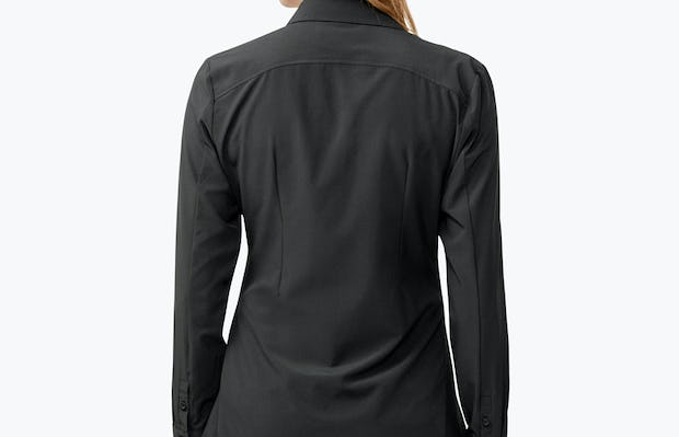 Women's Black Juno Tailored Dress Shirt on Model Facing Backward