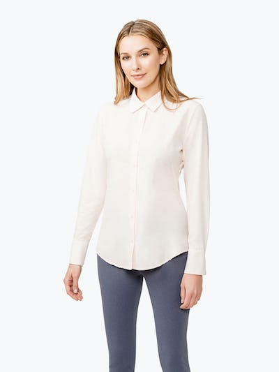 Women's Blush Juno Tailored Dress Shirt on Model Facing Forward