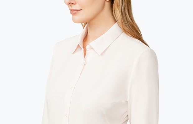 Women's Blush Juno Tailored Dress Shirt on Model Facing to Her Right